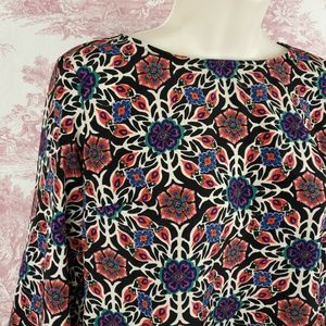 Old Navy Tunic Top Floral Back Exposed Zipper S